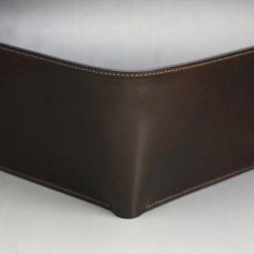 ホーウィン社製シェルコードバンのダークコニャック色の二つ折り財布(ゴールド色)-1-2