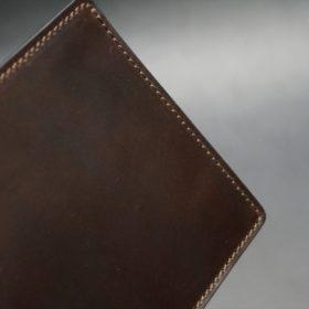 ホーウィン社製シェルコードバンのダークコニャック色の二つ折り財布(ゴールド色)-1-3