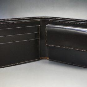 ホーウィン社製シェルコードバンのダークコニャック色の二つ折り財布(ゴールド色)-1-6