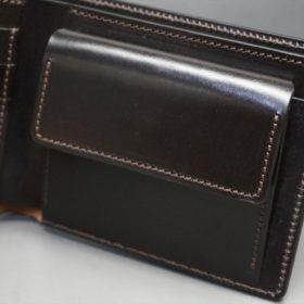 ホーウィン社製シェルコードバンのダークコニャック色の二つ折り財布(ゴールド色)-1-8
