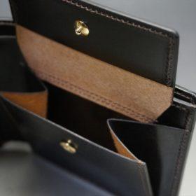 ホーウィン社製シェルコードバンのダークコニャック色の二つ折り財布(ゴールド色)-1-9