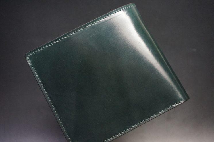 ホーウィン社製シェルコードバンのグリーン色の二つ折り財布(ゴールド色)-1-1