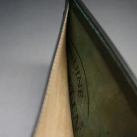 ホーウィン社製シェルコードバンのグリーン色の二つ折り財布(ゴールド色)-1-6