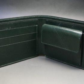 ホーウィン社製シェルコードバンのグリーン色の二つ折り財布(ゴールド色)-1-8