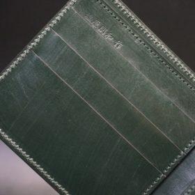 ホーウィン社製シェルコードバンのグリーン色の二つ折り財布(ゴールド色)-1-9