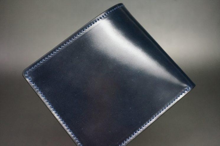 ホーウィン社製シェルコードバンのネイビー色の二つ折り財布(ゴールド色)-1-1