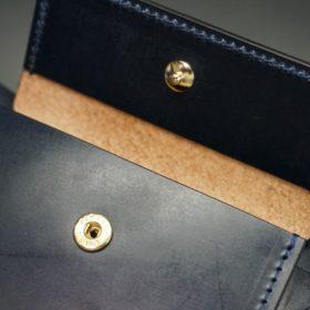 ホーウィン社製シェルコードバンのネイビー色の二つ折り財布(ゴールド色)-1-10