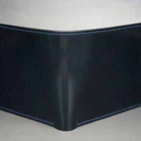 ホーウィン社製シェルコードバンのネイビー色の二つ折り財布(ゴールド色)-1-2