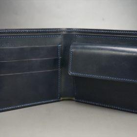 ホーウィン社製シェルコードバンのネイビー色の二つ折り財布(ゴールド色)-1-6