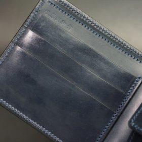 ホーウィン社製シェルコードバンのネイビー色の二つ折り財布(ゴールド色)-1-7