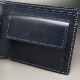 ホーウィン社製シェルコードバンのネイビー色の二つ折り財布(ゴールド色)-1-8