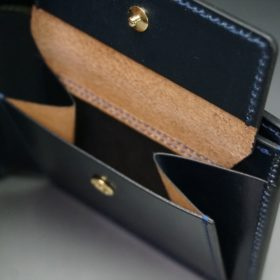 ホーウィン社製シェルコードバンのネイビー色の二つ折り財布(ゴールド色)-1-9