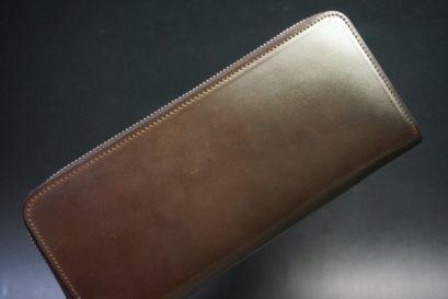 ホーウィン社製シェルコードバンのダークコニャック色のラウンドファスナー長財布(シルバー色)-1-1
