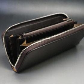 ホーウィン社製シェルコードバンのダークコニャック色のラウンドファスナー長財布(シルバー色)-1-10