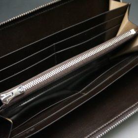 ホーウィン社製シェルコードバンのダークコニャック色のラウンドファスナー長財布(シルバー色)-1-11
