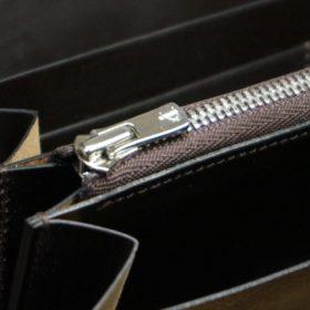 ホーウィン社製シェルコードバンのダークコニャック色のラウンドファスナー長財布(シルバー色)-1-12