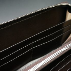 ホーウィン社製シェルコードバンのダークコニャック色のラウンドファスナー長財布(シルバー色)-1-14