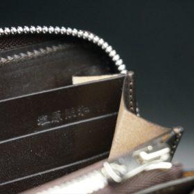 ホーウィン社製シェルコードバンのダークコニャック色のラウンドファスナー長財布(シルバー色)-1-15
