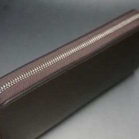 ホーウィン社製シェルコードバンのダークコニャック色のラウンドファスナー長財布(シルバー色)-1-4