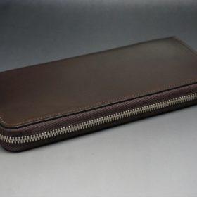 ホーウィン社製シェルコードバンのダークコニャック色のラウンドファスナー長財布(シルバー色)-1-6
