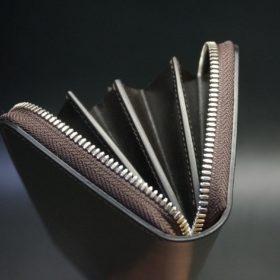 ホーウィン社製シェルコードバンのダークコニャック色のラウンドファスナー長財布(シルバー色)-1-9