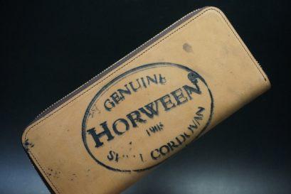 ホーウィン社製シェルコードバンのバーボン色のスタンプ側のラウンドファスナー長財布(ゴールド色)-1-1