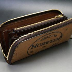 ホーウィン社製シェルコードバンのバーボン色のスタンプ側のラウンドファスナー長財布(ゴールド色)-1-10