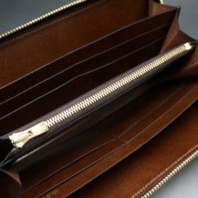 ホーウィン社製シェルコードバンのバーボン色のスタンプ側のラウンドファスナー長財布(ゴールド色)-1-11
