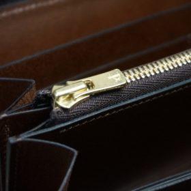 ホーウィン社製シェルコードバンのバーボン色のスタンプ側のラウンドファスナー長財布(ゴールド色)-1-12