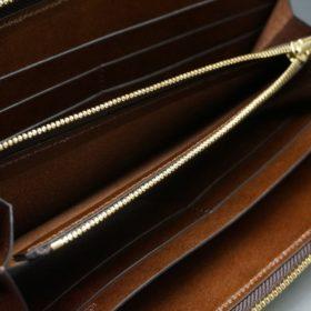 ホーウィン社製シェルコードバンのバーボン色のスタンプ側のラウンドファスナー長財布(ゴールド色)-1-13