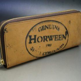 ホーウィン社製シェルコードバンのバーボン色のスタンプ側のラウンドファスナー長財布(ゴールド色)-1-2