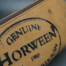 ホーウィン社製シェルコードバンのバーボン色のスタンプ側のラウンドファスナー長財布(ゴールド色)-1-3