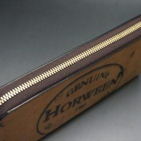 ホーウィン社製シェルコードバンのバーボン色のスタンプ側のラウンドファスナー長財布(ゴールド色)-1-4