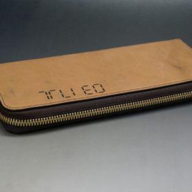 ホーウィン社製シェルコードバンのバーボン色のスタンプ側のラウンドファスナー長財布(ゴールド色)-1-6