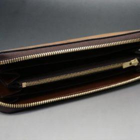ホーウィン社製シェルコードバンのバーボン色のスタンプ側のラウンドファスナー長財布(ゴールド色)-1-7