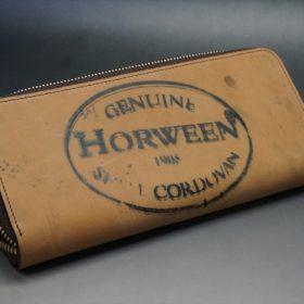 ホーウィン社製シェルコードバンのバーボン色のスタンプ側のラウンドファスナー長財布(ゴールド色)-1-8