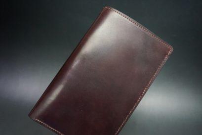 ホーウィン社製シェルコードバンの#8色の縦長二つ折り財布(ゴールド色)-1-1