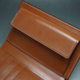 ホーウィン社製シェルコードバンの#8色の縦長二つ折り財布(ゴールド色)-1-10