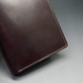 ホーウィン社製シェルコードバンの#8色の縦長二つ折り財布(ゴールド色)-1-3