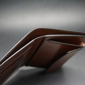 ホーウィン社製シェルコードバンの#8色の縦長二つ折り財布(ゴールド色)-1-6
