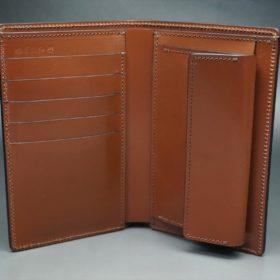 ホーウィン社製シェルコードバンの#8色の縦長二つ折り財布(ゴールド色)-1-7