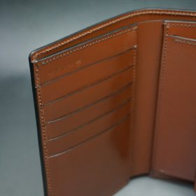 ホーウィン社製シェルコードバンの#8色の縦長二つ折り財布(ゴールド色)-1-8