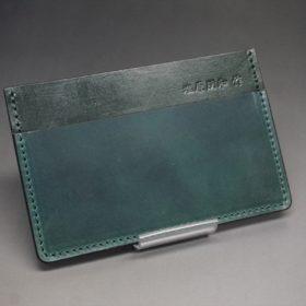 ホーウィン社製シェルコードバンのグリーン色のカードケース-1-2