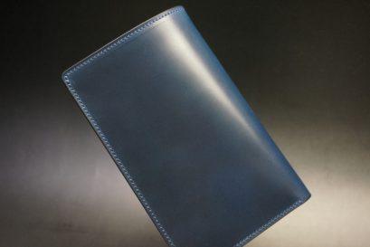ロカド社製オイルコードバンのネイビー色の縦長二つ折り財布(ゴールド色)-1-1
