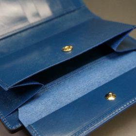 ロカド社製オイルコードバンのネイビー色の縦長二つ折り財布(ゴールド色)-1-10