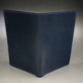 ロカド社製オイルコードバンのネイビー色の縦長二つ折り財布(ゴールド色)-1-2