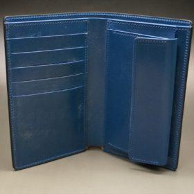 ロカド社製オイルコードバンのネイビー色の縦長二つ折り財布(ゴールド色)-1-6