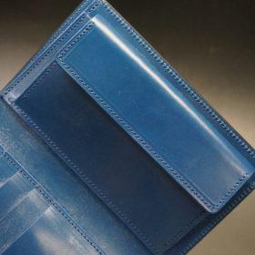 ロカド社製オイルコードバンのネイビー色の縦長二つ折り財布(ゴールド色)-1-8