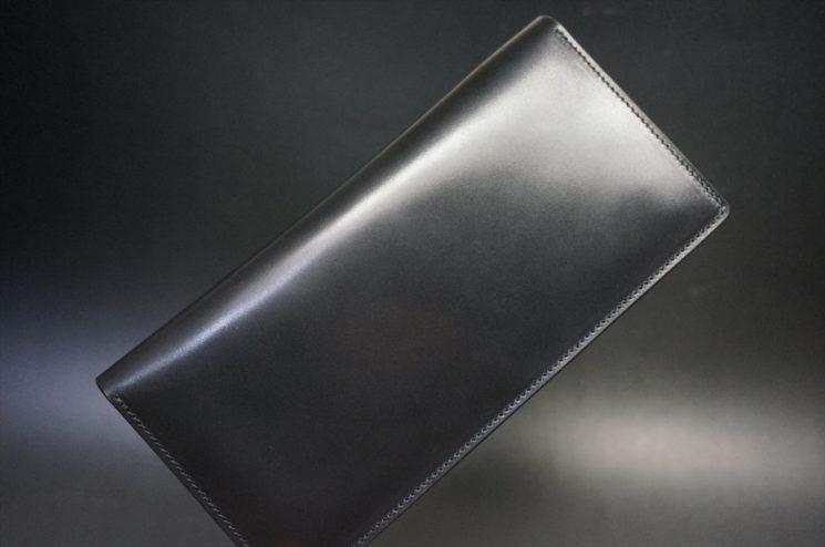ロカド社製オイル仕上げコードバンのブラック色のスタンダード長財布(ゴールド色)-1-1