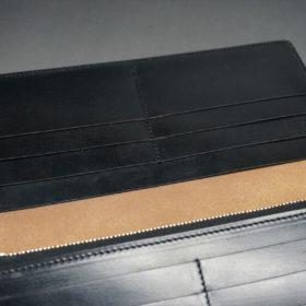ロカド社製オイル仕上げコードバンのブラック色のスタンダード長財布(ゴールド色)-1-12